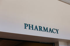 Sign stating 'Pharmacy' on interior wall Stock Photo