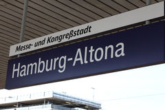 Sign at the station. Germany Hamburg Stock Image