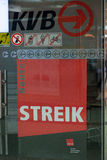 Sign at a station about the strike in Cologne Royalty Free Stock Photo