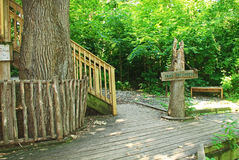 Sign and Steps to Tom's Treehouse in Fontenelle Forest Stock Images