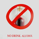Sign of stop alcohol isolate a white background Stock Photo