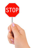 Sign Stop in hand Stock Photos