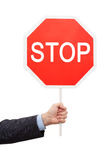 Sign STOP in a Hand Royalty Free Stock Image