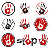 Sign stop with open hand icon set Royalty Free Stock Photos