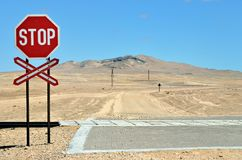 Sign stop on the rail crossing, Namibia, Africa Stock Images