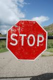 Sign STOP on road Royalty Free Stock Image