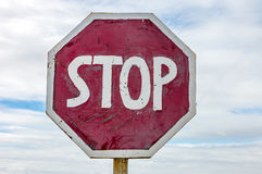 Sign of stop on the road Stock Photo