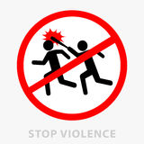 Sign stop violence. One symbolically drawn person catches up and beats another with a stick. Can be used as a print or. As a sticker. Flat style. Vector Royalty Free Stock Image