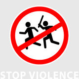 Sign stop violence. One symbolically man runs after another with a stick for the purpose of attack. Flat design. Can be Stock Photo