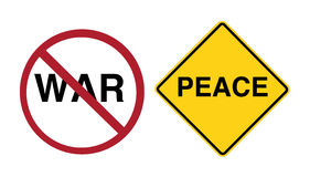 Sign - stop war, peace ahead. Two signs Royalty Free Stock Image