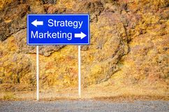 Sign strategy marketing on billboard. Royalty Free Stock Images