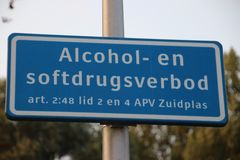 Sign at street that using alcohol and softdrugs are not allowed in this area by the local act municipality of Zuidplas in the Neth. Erlands royalty free stock photo
