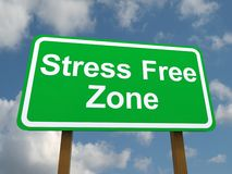 Sign for stress free zone. Green sign board with white text saying Royalty Free Stock Photo
