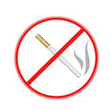 Sign strikethrough cigarette  on a white background Royalty Free Stock Photo