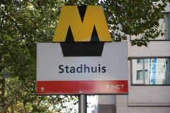 Sign of the subway in Rotterdam at metro station Stadhuis, city hall in English as part of R-Net transport system. Sign of the subway in Rotterdam at metro stock photo