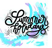 Sign Summer holidays, template poster hand drawn. Vector. royalty free illustration