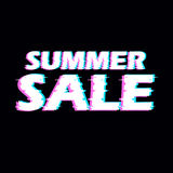 Sign summer sale with distorted glitch effect. Royalty Free Stock Images