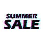 Sign summer sale with distorted glitch effect. Stock Image