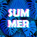 Sign summer sale with distorted glitch effect. Royalty Free Stock Photos