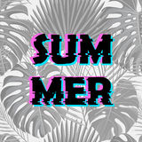 Sign summer sale with distorted glitch effect. Royalty Free Stock Photography