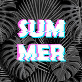Sign summer sale with distorted glitch effect. Stock Photo