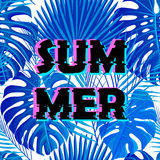 Sign summer sale with distorted glitch effect. Royalty Free Stock Photo