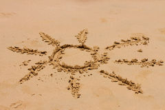 Sign of sun on sand Royalty Free Stock Photography