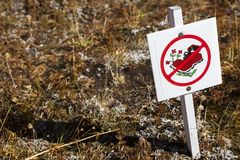 Stay On Trail Hiking Sign in Canadian Rockies. Sign in Sunshine Meadows Natural Wilderness Area asking Hikers to Please stay on established Hiking Trail.  Banff Stock Images