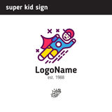 Sign super child, suitable for school or extra classes in child. Logo super child, suitable for school or extra classes in child development royalty free illustration