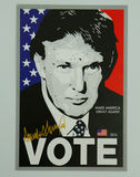 Sign in support of presidential candidate Donald Trump on display. BROOKLYN, NEW YORK - NOVEMBER 13, 2016: Sign in support of presidential candidate Donald Trump Royalty Free Stock Photo