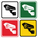 Sign surveillance camera. Set of warning signs in different colo Royalty Free Stock Photography