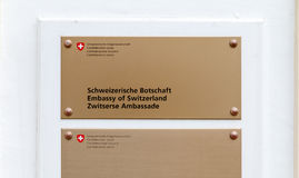 Sign of the Swiss Embassy in The Hague, Netherlands Royalty Free Stock Images