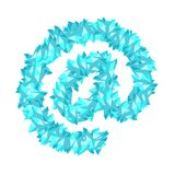 At sign symbol Crystal diamond 3D virtual set illustration Gemst. One concept design blue color, isolated on white background, vector eps 10 Stock Photos