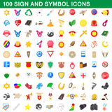100 sign and symbol icons set, cartoon style. 100 sign and symbol icons set in cartoon style for any design vector illustration Stock Image