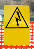 Sign with the symbol of a lightning bolt for electrocution Dange Stock Photo