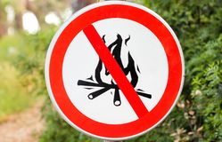 Sign or symbol no campfire, do not light a fire. No Campfires sign, in nature by sea. No open flame sign. No fire, No access with open flame prohibition sign royalty free stock images