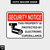Cctv, alarm, monitored and 24 hour video camera sign in  style version, easy to use and print. Sign and symbol for office and factory worker, attention the rule Stock Photo