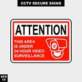 Cctv, alarm, monitored and 24 hour video camera sign in  style version, easy to use and print. Sign and symbol for office and factory worker, attention the rule Stock Images