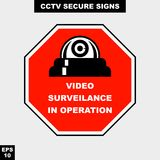 Cctv, alarm, monitored and 24 hour video camera sign in  style version, easy to use and print. Sign and symbol for office and factory worker, attention the rule Royalty Free Stock Photography