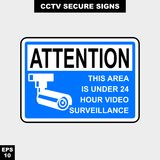 Cctv, alarm, monitored and 24 hour video camera sign in vector style version, easy to use and print. Sign and symbol for office and factory worker, attention the Royalty Free Stock Image