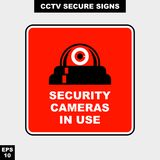 Cctv, alarm, monitored and 24 hour video camera sign in vector style version, easy to use and print. Sign and symbol for office and factory worker, attention the Royalty Free Stock Photos