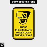 Cctv, alarm, monitored and 24 hour video camera sign in vector style version, easy to use and print. Sign and symbol for office and factory worker, attention the Royalty Free Stock Images