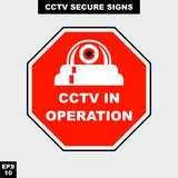 Cctv, alarm, monitored and 24 hour video camera sign in vector style version, easy to use and print. Sign and symbol for office and factory worker, attention the Stock Image
