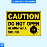 Emergency alarm and security alert signs in vector style version, easy to use and print. Sign and symbol for office and factory worker, attention the rule Stock Images