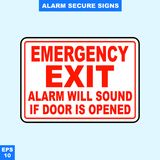 Emergency alarm and security alert signs in vector style version, easy to use and print. Sign and symbol for office and factory worker, attention the rule Stock Photos