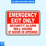 Emergency alarm and security alert signs in vector style version, easy to use and print. Sign and symbol for office and factory worker, attention the rule Royalty Free Stock Photo