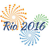 Sign symbol Rio olympics games 2016 in colors of the Brazilian flag Stock Photography