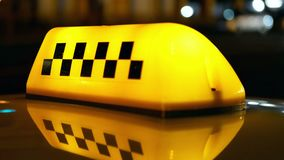 Taxi symbol traffic city. Sign symbol of taxi cab on road traffic stock footage