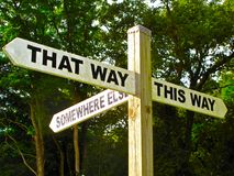 Sign symbolizing indecision choices opportunity travel. Sign reads This Way, That Way, Somewhere Else, symbolizing indecision, choices, opportunity, the way Royalty Free Stock Images