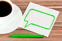 The sign of talk on a napkin Royalty Free Stock Image